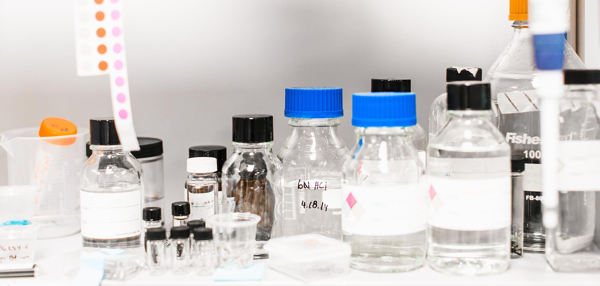 Various lab vials are used throughout many experiments in our research laboratories
