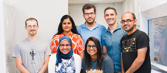 Group Lab Photo: (pictured left to right, top to bottom) Lucas, Ratnasri, Amhad, Juan Luis, Rahul, Heba, Swati