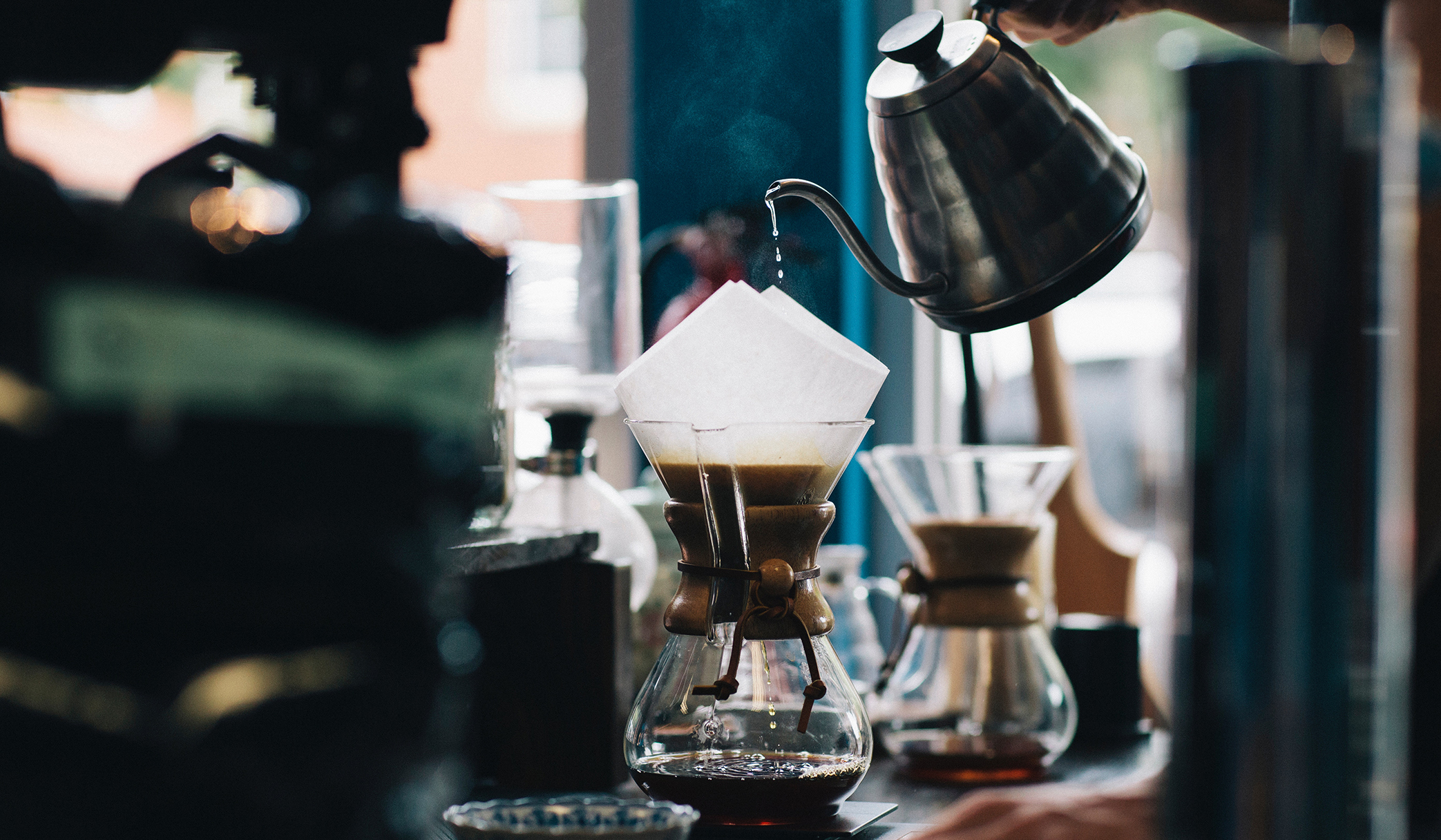 The slow, meditative process of pour over coffee