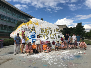 FYS129 students in front of the painted rock