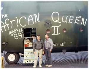 A photo of Manuel Lluberas in front of the African Queen